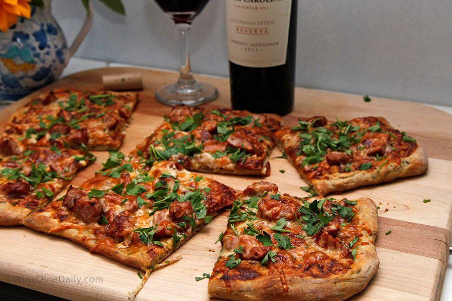 BBQ Chicken Sausage Pizza & Red Wine
