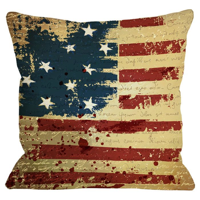 Look What I Found On Vintage American Flag Throw Pillow By OneBellaCasa