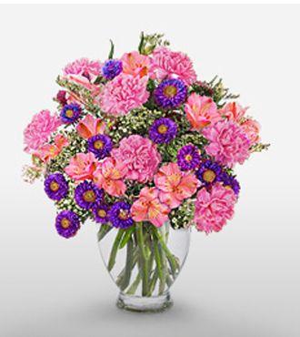 Pink Carnation Pink Asltroemeria And Purple Malaysian