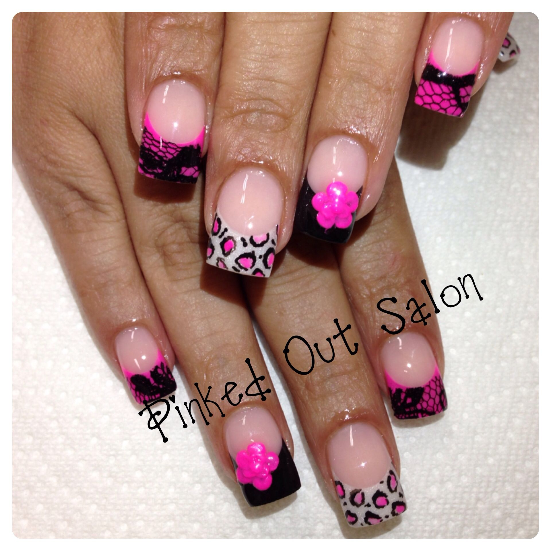Pink and black nail art!  Check out Pinked Out Salon on FB!!