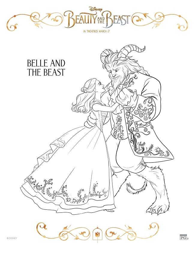 A Variety Of Free Printable Beauty And The Beast Coloring Pages For Kids To Enjoy