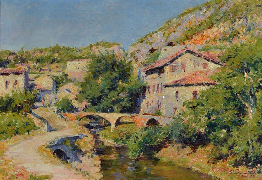 Village au pont (Laguépie) c. 1900 Julien Gustave Gagliardini Mulhouse 1846 - 1927 Paris