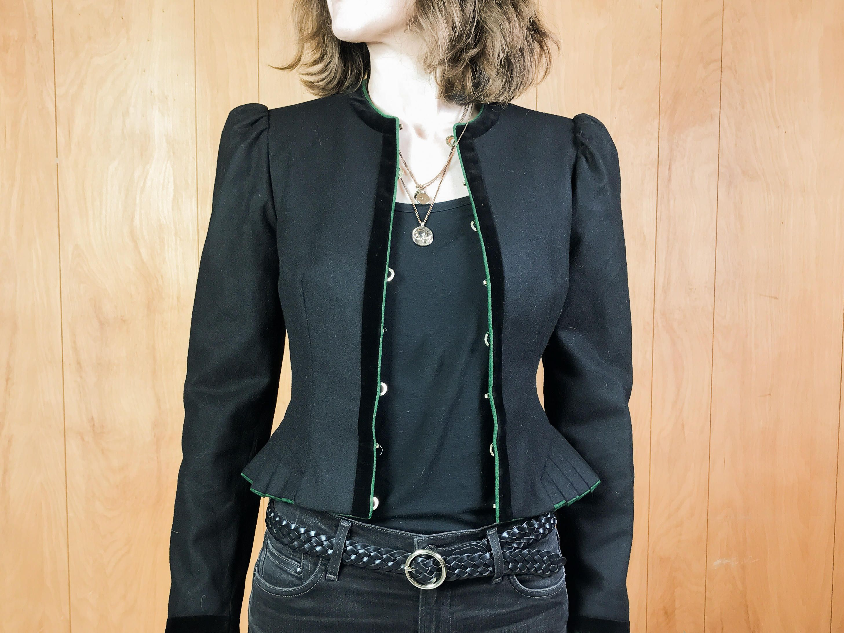 Vintage Brown Cropped Leather Jacket 80/'s 90/'sPuffed Long SleevesWomen/'s XS
