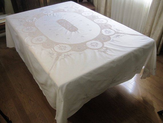Vintage Linen Crochet Embroidered Tablecloth Cream