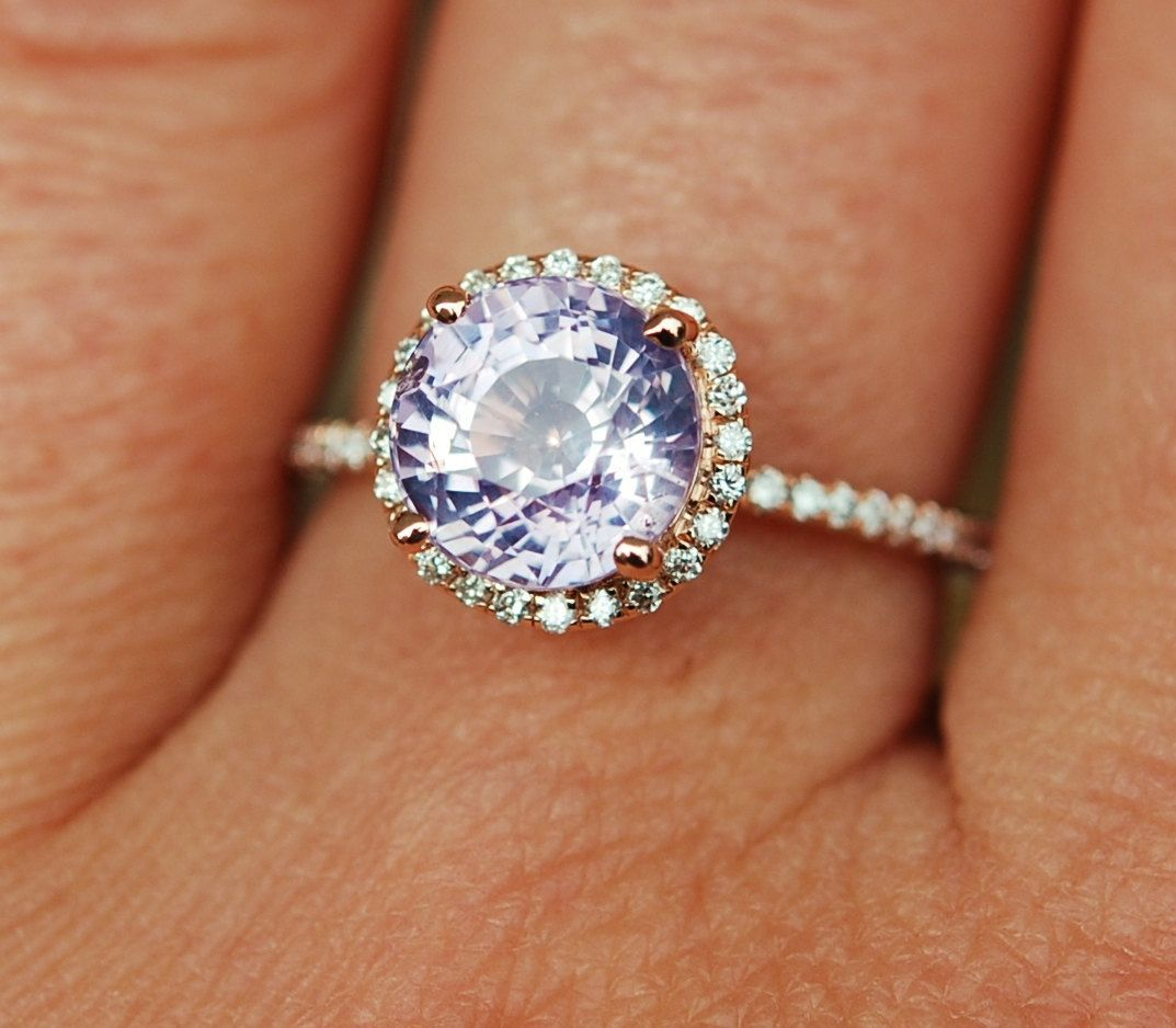 Rose gold engagement ring ct round peach lavender sapphire