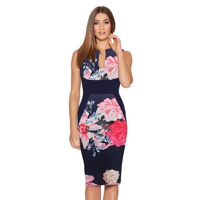 Elegant Floral Dress Dresses Length: Knee Length Neckline: V