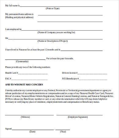 Verification Of Employment Form Template template Pinterest - employment verification form