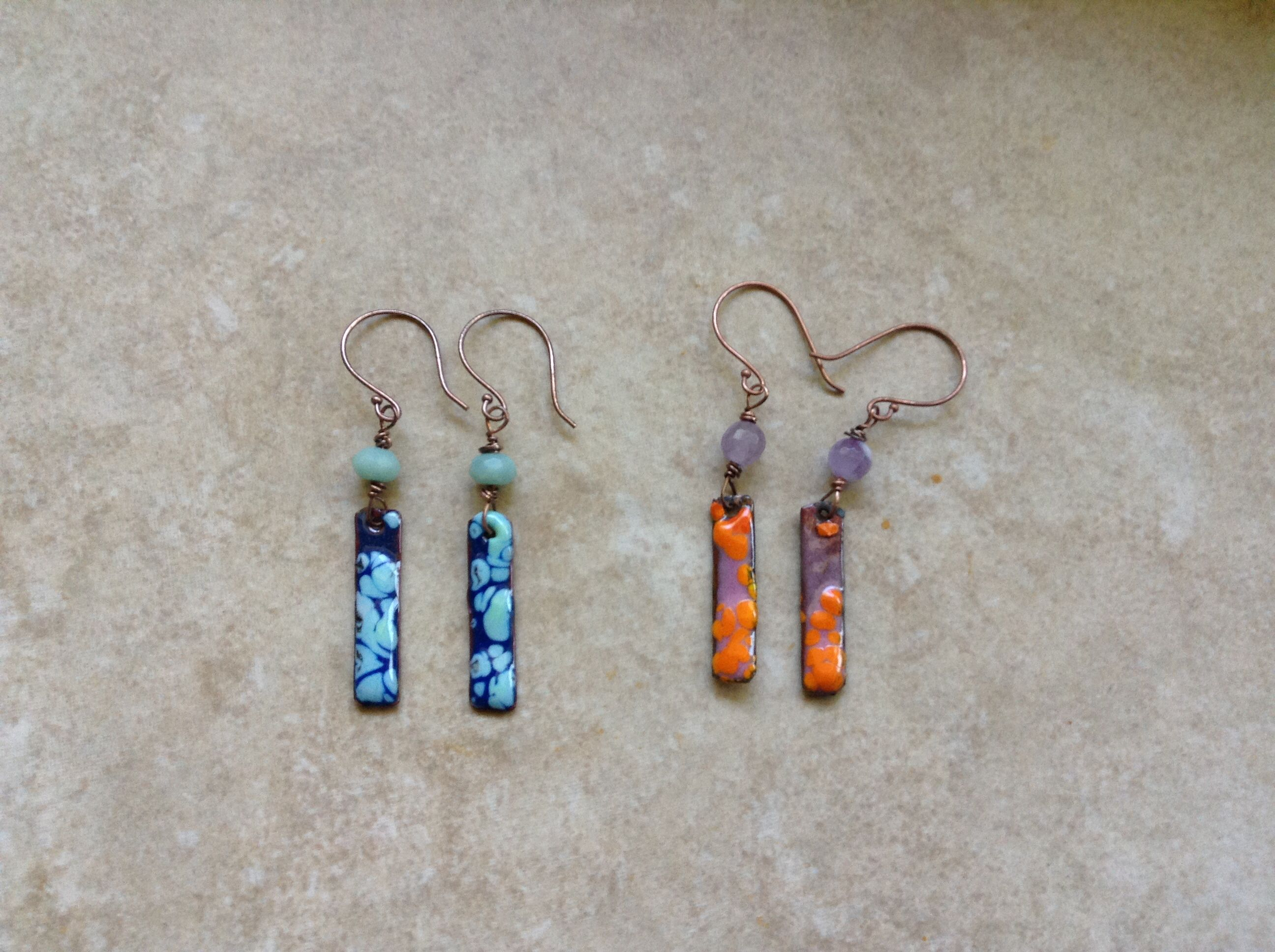 Having fun with Fritt Enamels, smashed copper tubing sticks with ...