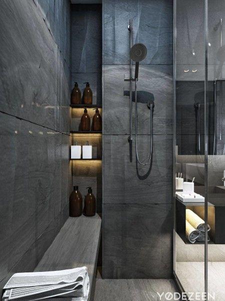 INTERIEUR I BADKAMERS donkere chique badkamers | Badezimmer, Bäder ...