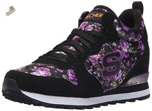 Skechers Originals Women's Retros OG 85 Hollywood Rose Fashion Sneaker,  Black/Purple Rose,