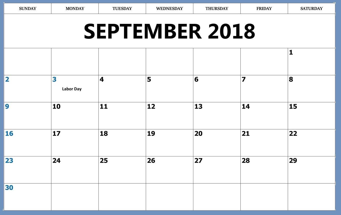 September 2018 Blank Calendar Word Printable Monthly
