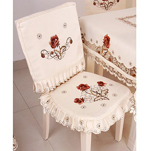 Ihappy Peony Flower Embroidered Fabric Cutwork Dining Chair Pad Seat Coverset Of 2 This Is An Amazon Affil Dining Chair Pads Chair Covers Dinning Room Decor