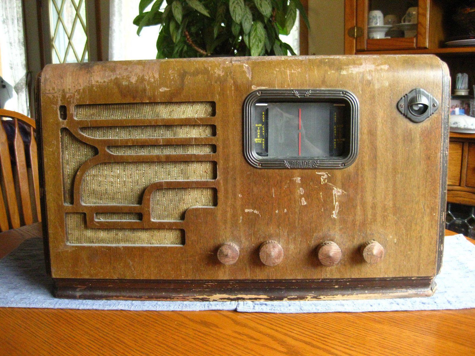 Old Antique Wood Airline Movie Dial 8 Tube Radio 62 418 Partsrestore Eye Antique Radio How To Antique Wood Vintage Radio