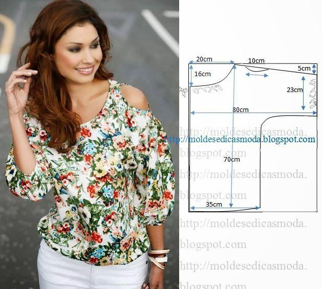 BLUSA OMBRO ABERTO | Blusas faciles de hacer, Plantillas de moda y Molde