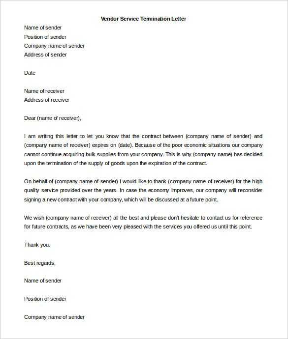 service termination letter free word pdf documents download - sample contract termination letter