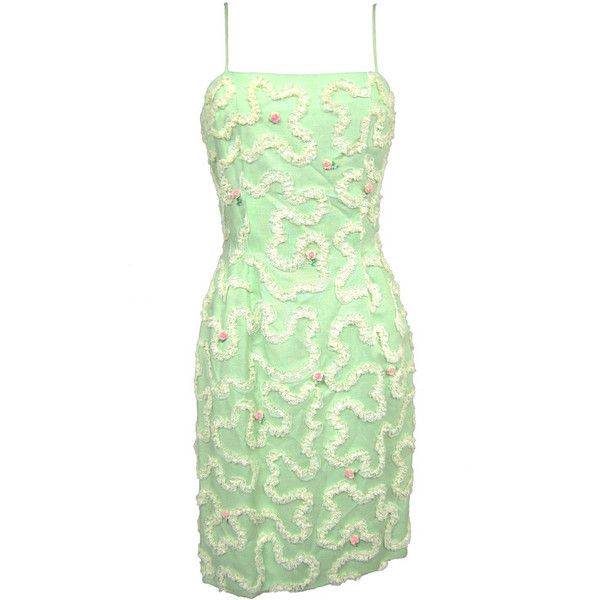 Preowned 1950s Green Floral Wiggle Dress (€345) ❤ liked on Polyvore featuring dresses, 1950s, green, flower print dress, green dress, wiggle dress, floral printed dress and rosette dress