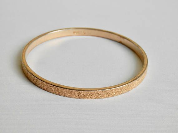 Monet Bracelet Gold Tone Bangle Textured Matte