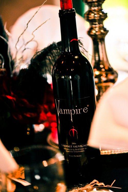Via Offbeat Bride...Vampire wine? Count me in!