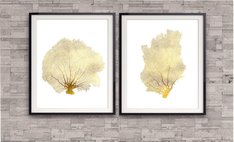 Coral Reef Gold Print, Sea Life print, Gold Foil Art, Beach Theme ...