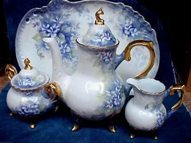 WHITE VIOLETS TEA SET /Beginners can do it | ARTchat - Porcelain Art Plus (formerly Chatty Teachers & Artists)
