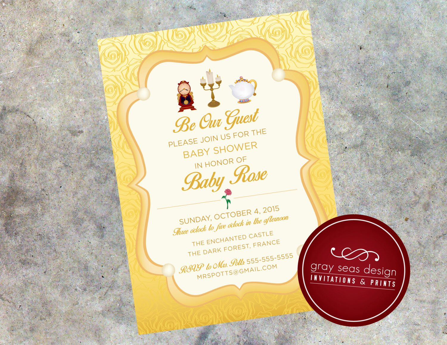 Be Our Guest   Beauty And The Beastu0027s Belle Inspired 5x7 Baby Shower  Invitation By GraySeasDesign