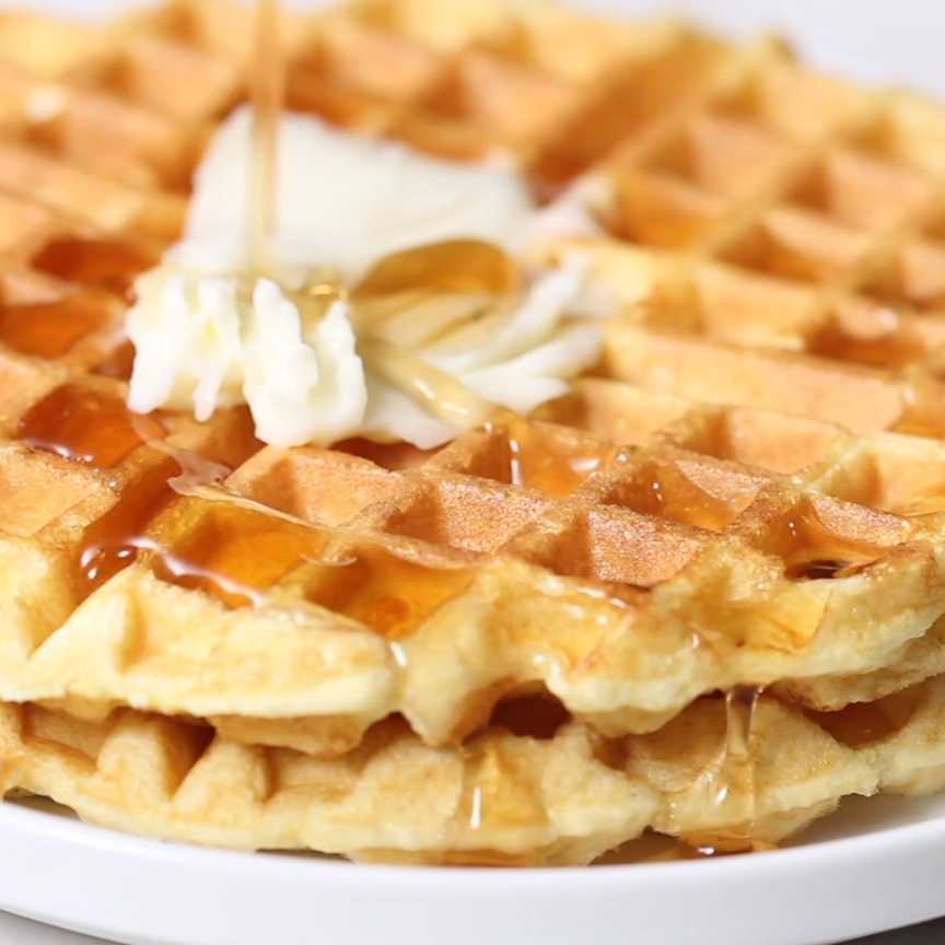 These actually crispy low carb and keto waffles are packed with protein. Use your favorite whey protein powder, eggs, water, and baking powder to make these delicious and healthy protein waffles.
