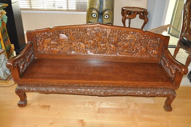 This Is A Vintage Teak Wood Carved Sofa Chair Tea Coffee Table And End Table Set These Are From Thailand And Are Hard To Wood Sofa End Table Sets Carved Sofa