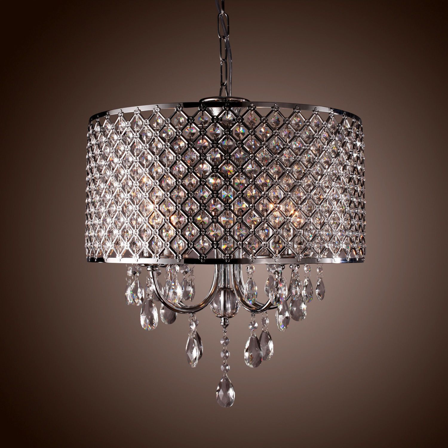 Modern chandelier crystal droplet pendant ceiling light 4 lamps modern 4 light pendant lights with crystal drops in round light information cord arubaitofo Images