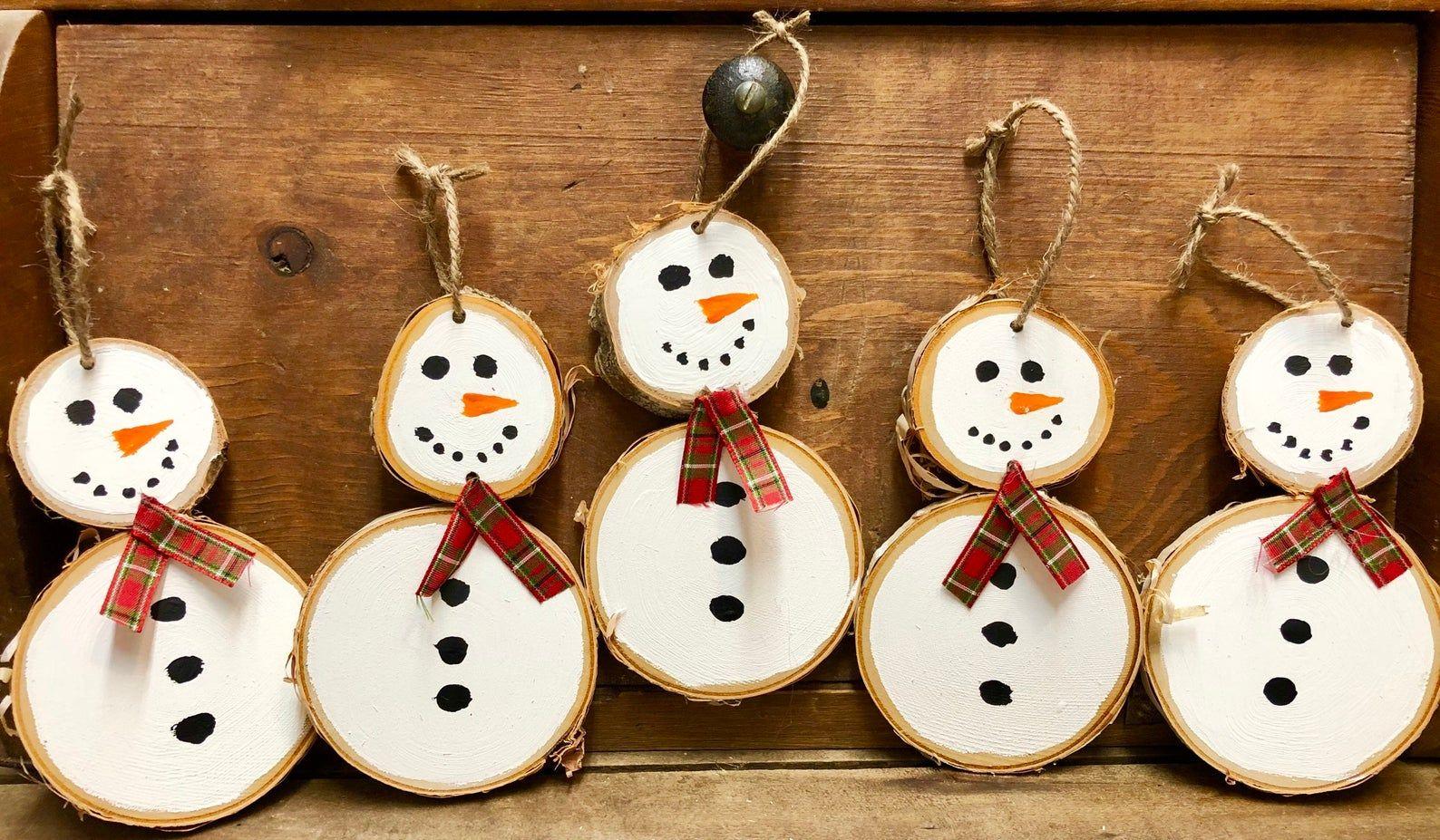 Sale Snowmen Ornaments Two Per Order Birch Snowmen Etsy Christmas Ornament Crafts Wood Christmas Ornaments Kids Christmas Ornaments