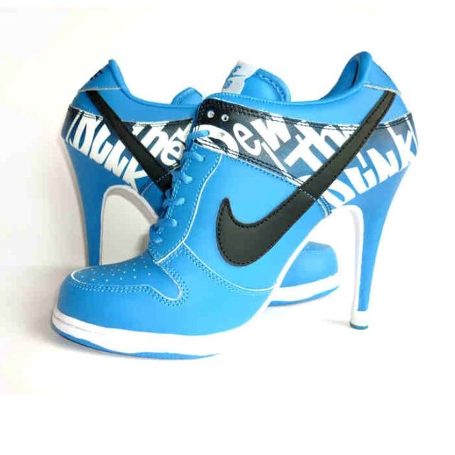 Discount Authentic Womens Nike Dunk High Heels Low Shoes Light Blue/Black/White
