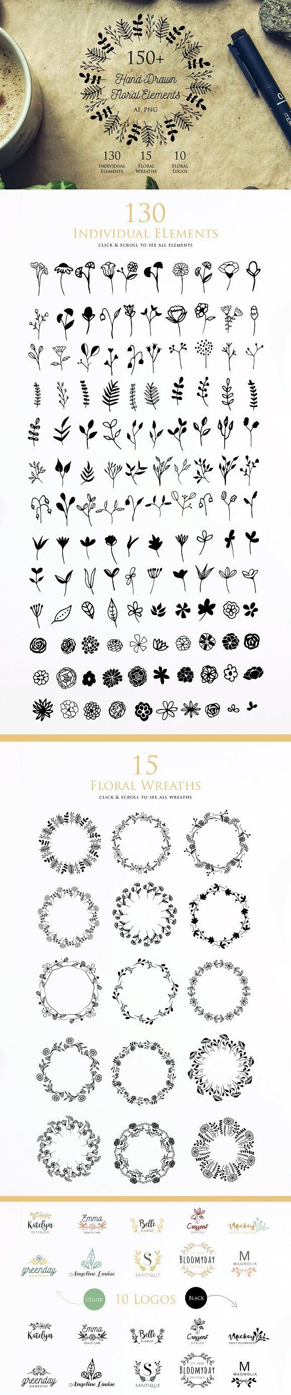 Hand Drawn Floral Elements by iamwulano on @creativemarket | Doodles