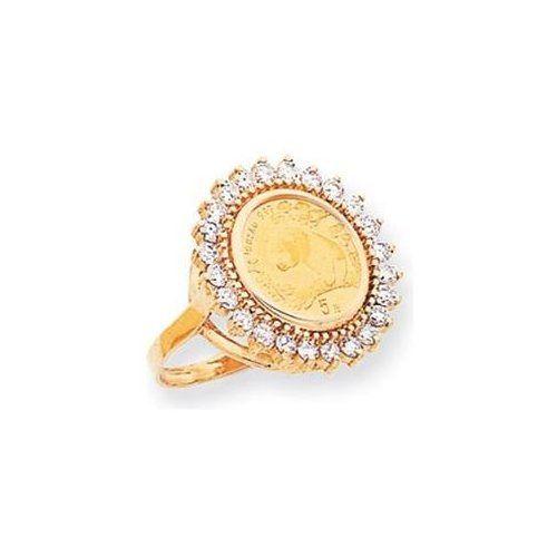 14k Diamond Panda Coin Ring Gold Coin Jewelry Gold Coin Ring Diamond Jewelry Designs