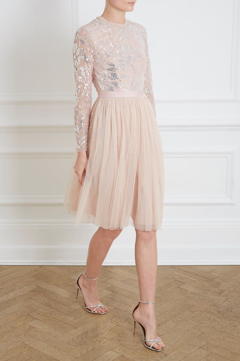 Floral Gloss Bodice Midi Dress in Rose Quartz from the Needle   Thread PS19  Collection ec20f17a5