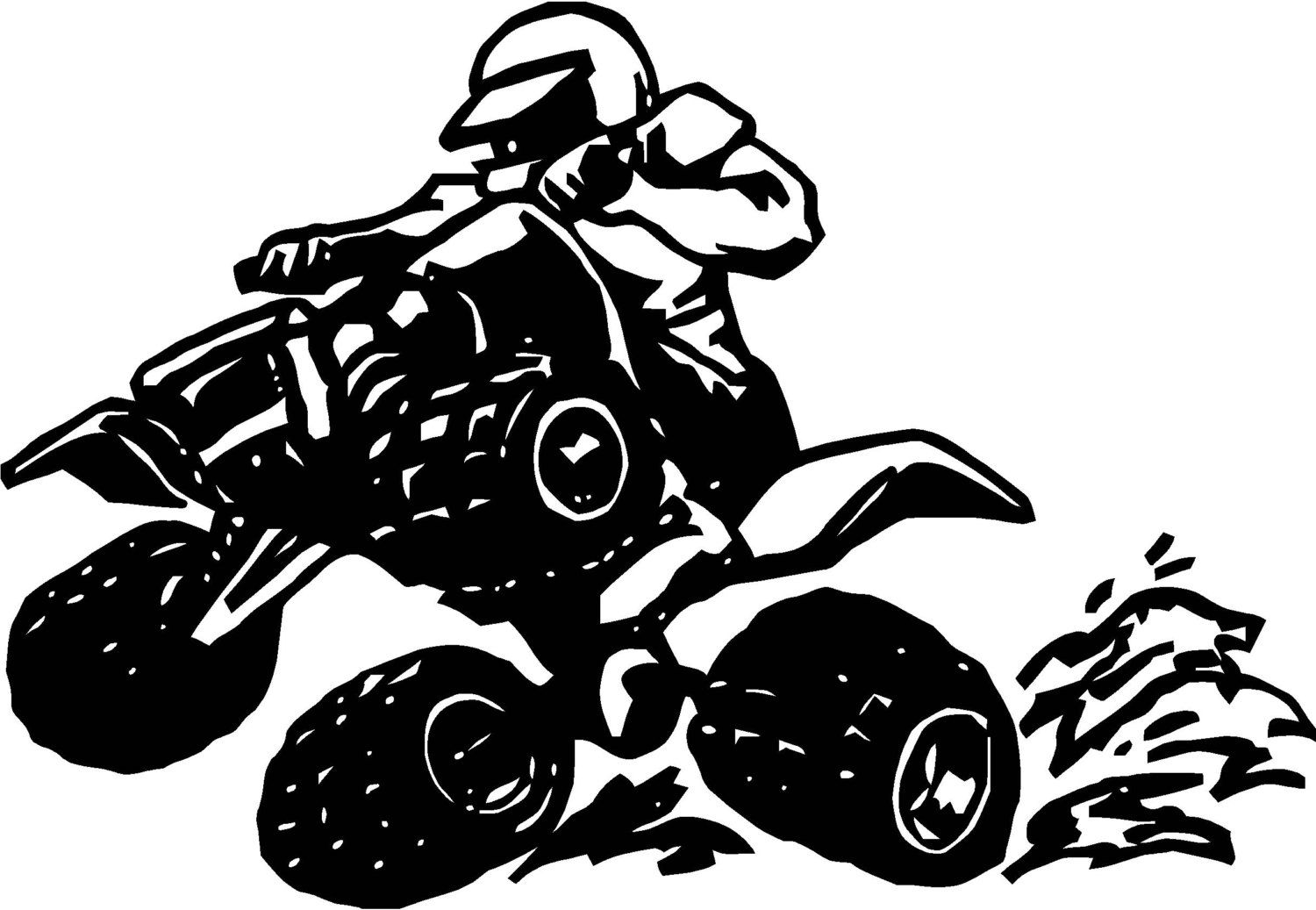 Atv Quad Bike Wall Decal Wall Art Sticker Black Outline