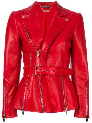 f63c484e Alexander McQueen Zipped Biker jacket | RED in 2019 | Summer ...