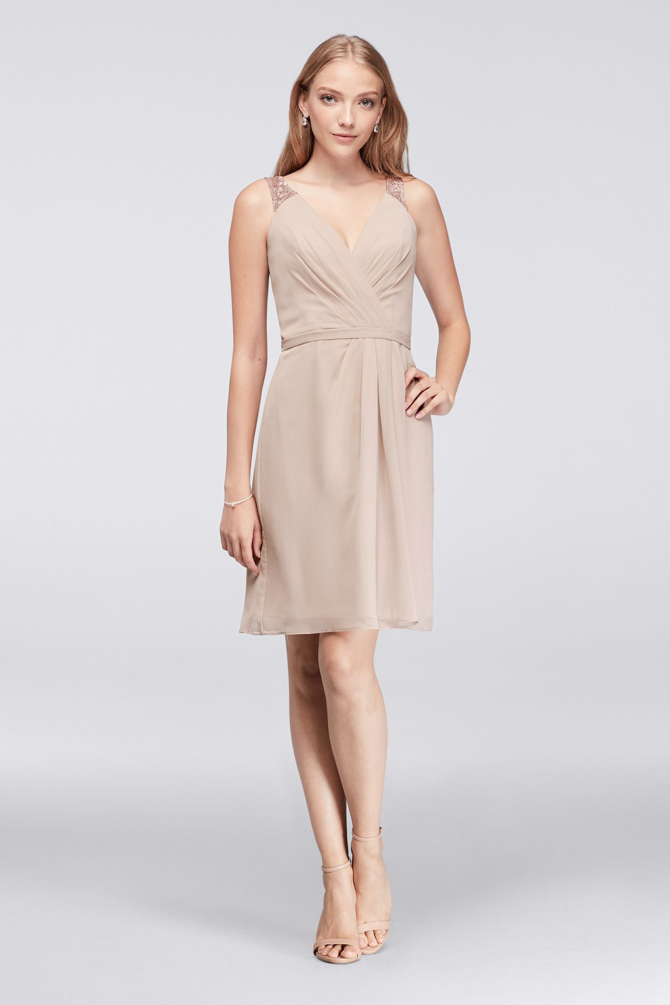 Simple tank v neck above knee length metallic chiffon fm