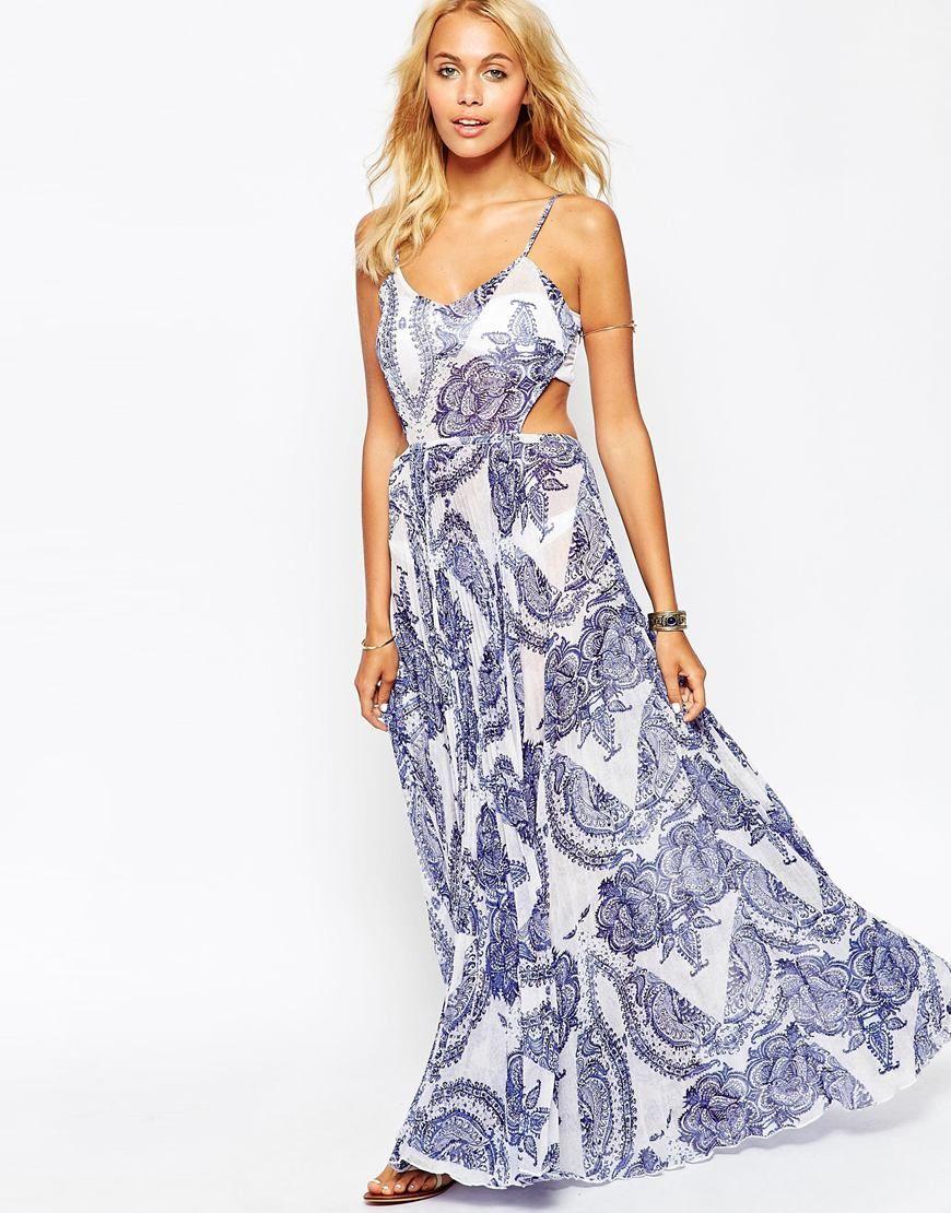 ASOS China Print Pleated Maxi Beach Dress | Mexico | Pinterest