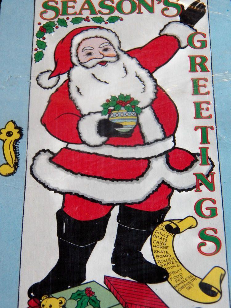 Vintage Santa Claus Door Cover 1989 Plastic 30X60  Christmas Holiday New & Vintage Santa Claus Door Cover 1989 Plastic 30X60