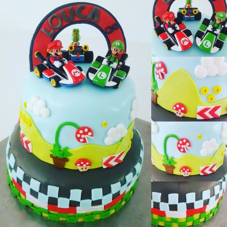 g teau d 39 anniversaire th me mario kart 8 en p te sucre mes cr a 39 cake design pinterest. Black Bedroom Furniture Sets. Home Design Ideas