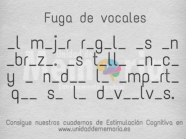 Unidad De Memoria Entrenamiento Cerebral Fuga De Vocales