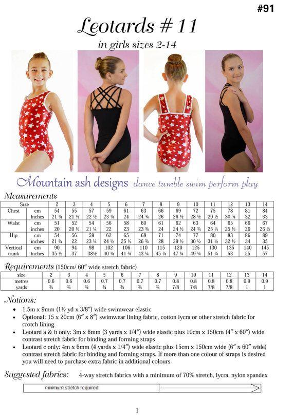 Leotards 11 pdf sewing pattern gymnastics gym ballet dance girls ...