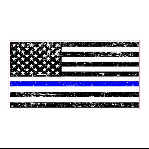 Police Blue Line Distressed Black Flag Sticker Black And White Flag Sticker Flag American Flag Decal