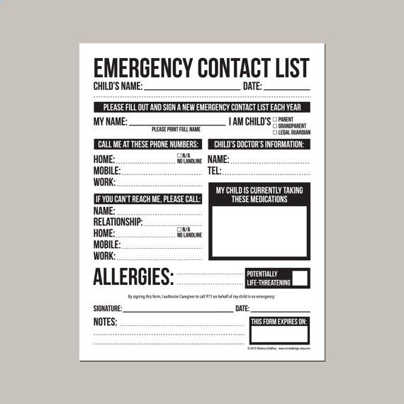 Emergency Contact Form for Nanny Babysitter or by microdesign - daycare form