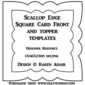 Scallop Square Card Front Topper Templates Screen Cards Square Card Cards