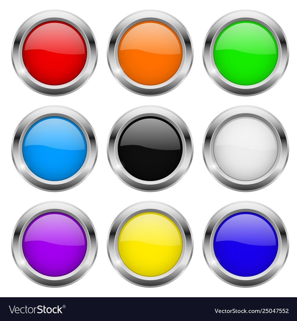 Round buttons glass colored icons with chrome vector image
