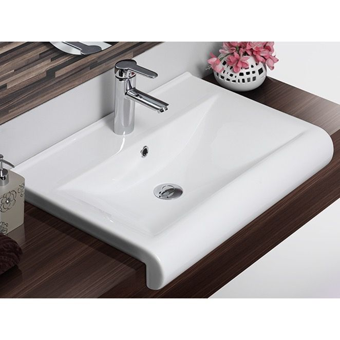 Rectangle White Ceramic Wall Mounted Or Semi Recessed Sink Drop