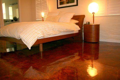 Acid Stained Concrete Bedroom Floor