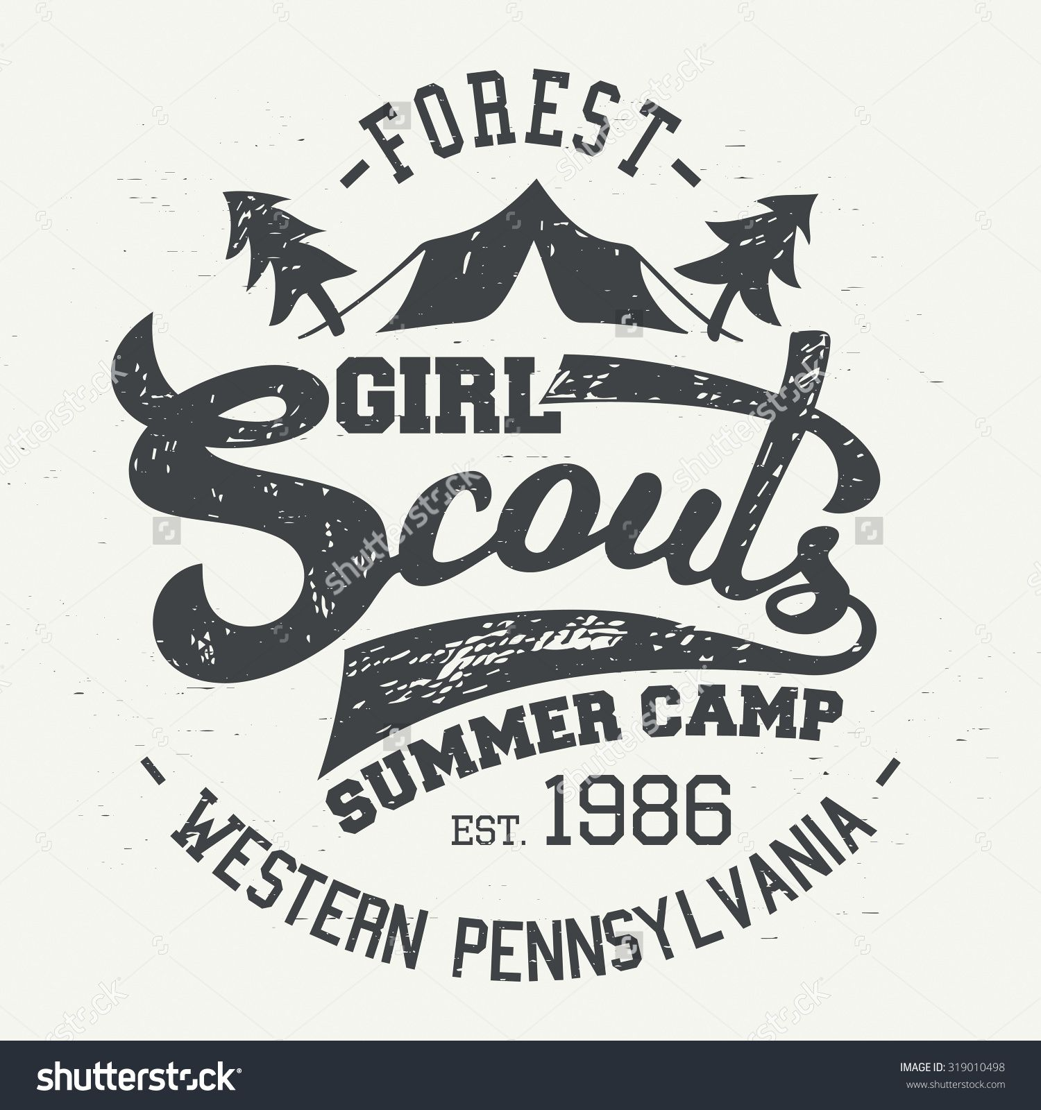 Girl Scouts summer camp. Typographic design for tshirt