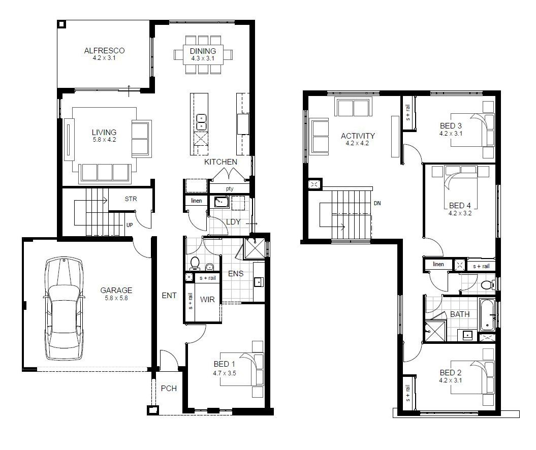 Incredible double storey 4 bedroom house designs perth apg for Floor plan of a two storey house