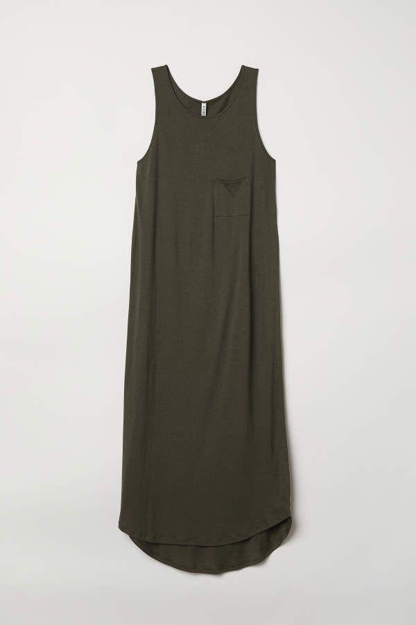fac23e20ba38 H&M H & M - Jersey Maxi Dress - Khaki green - Women | Wedding dress ...
